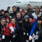 A group of sponsored employees participate at United Way of Calgary and Area's Plane Pull.
