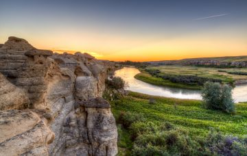 Sunrise at Writing-on-Stone Provincial Park in Alberta, Canada