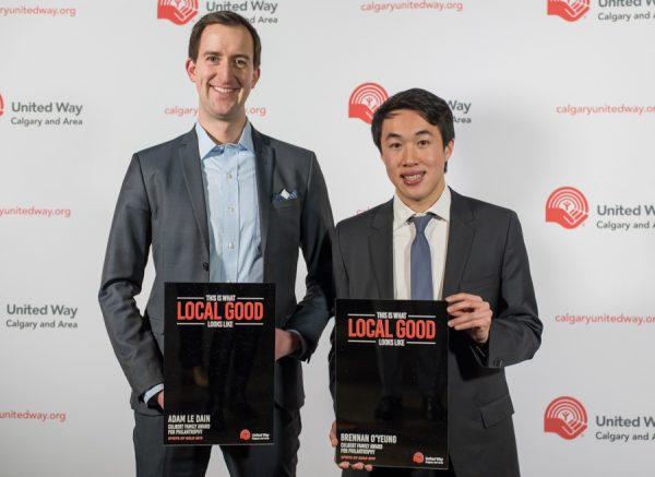 Adam Le Dain and Brennan O'Yeung win the Culbert Family Award For Philanthropy during the Spirit of Gold Awards at the Big Four Roadhouse in Calgary on Tuesday, Feb. 12, 2019.