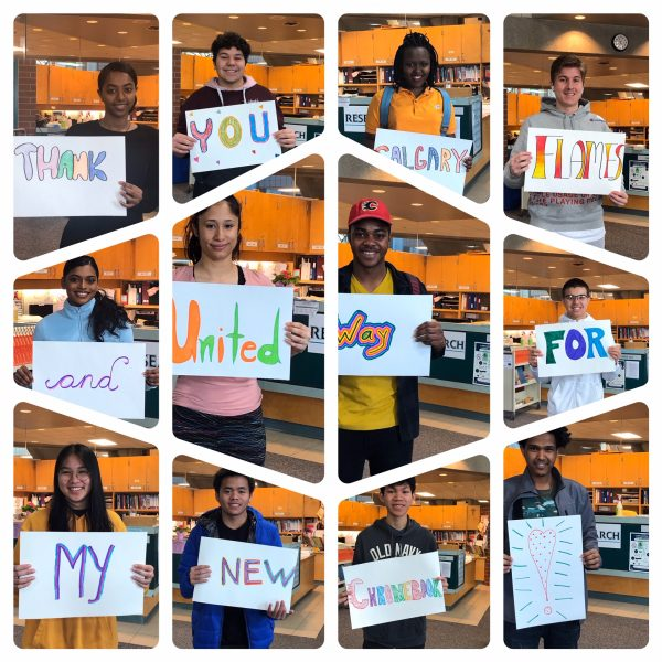 Collage of students with signs that read: Thank you Calgary Flames and Untied Way for my new Chromebook!