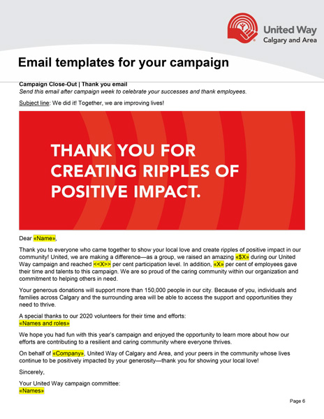 Campaign email thank you template preview