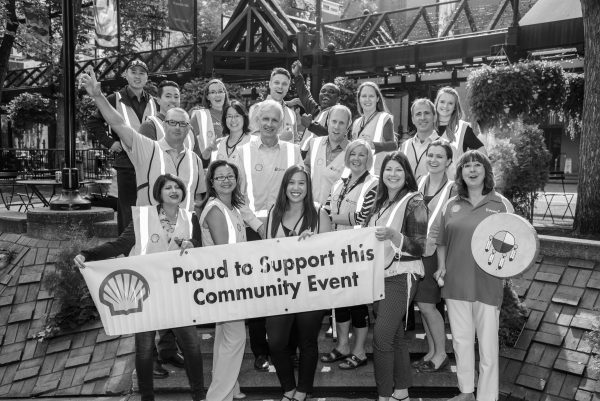 Black and white photo of Shell Canada Black and white image of Shell Canada celebrating Calgary community
