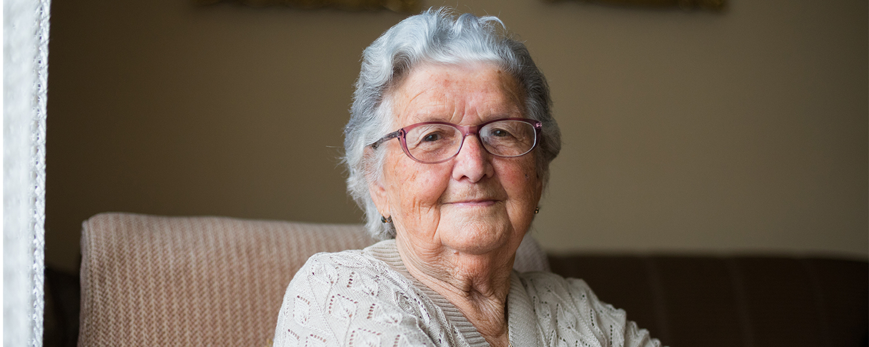 A senior women smiling