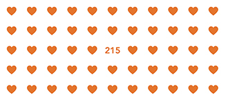 Many small orange hearts with 215 in the centre